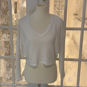 Urban Outfitters white crop open weave l/s top- XS
